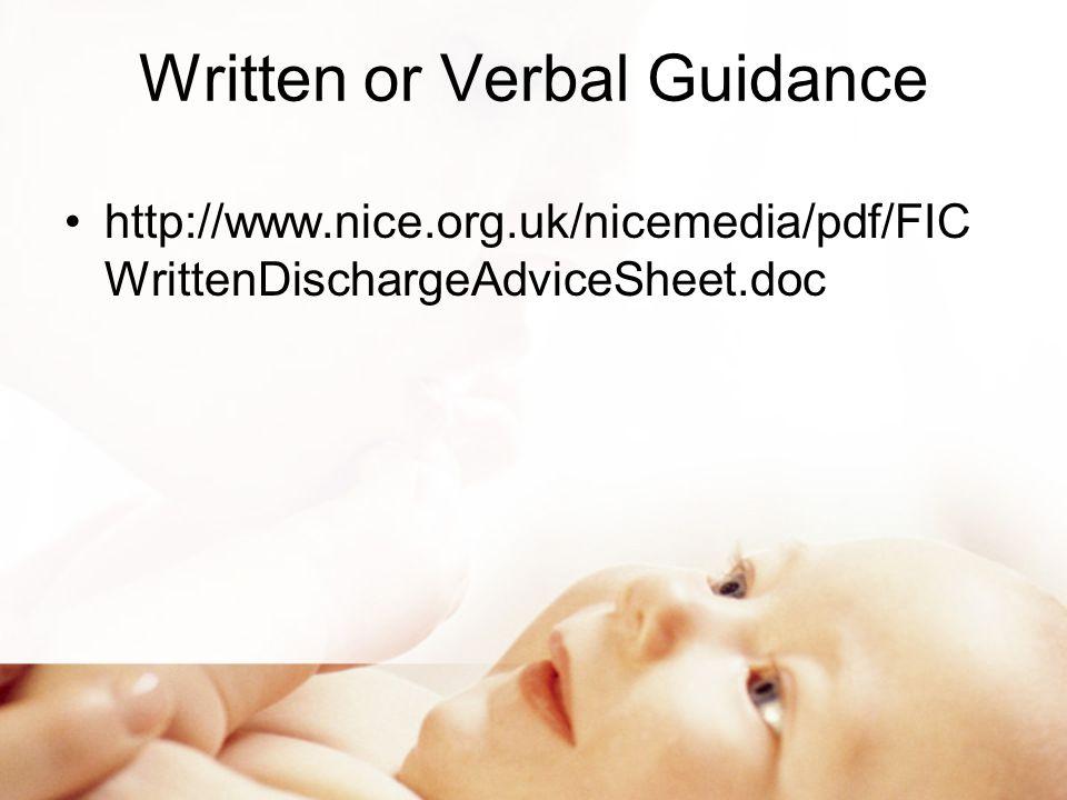 Written or Verbal Guidance http://www.nice.org.uk/nicemedia/pdf/FIC WrittenDischargeAdviceSheet.doc
