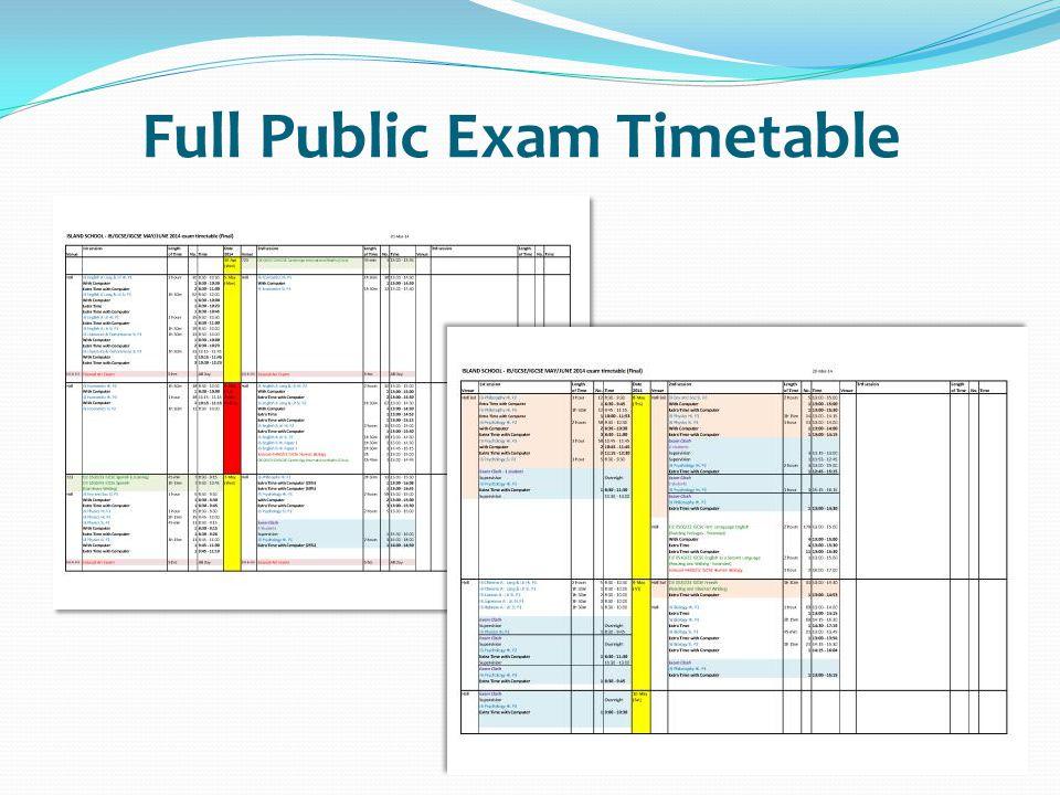 Full Public Exam Timetable