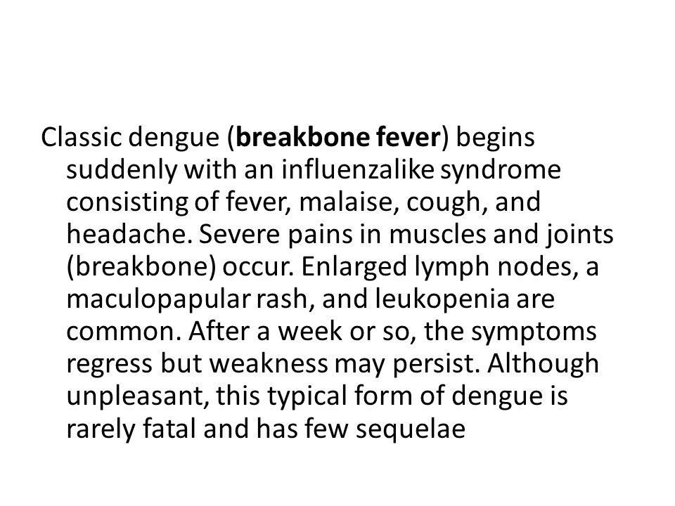 Classic dengue (breakbone fever) begins suddenly with an influenzalike syndrome consisting of fever, malaise, cough, and headache.