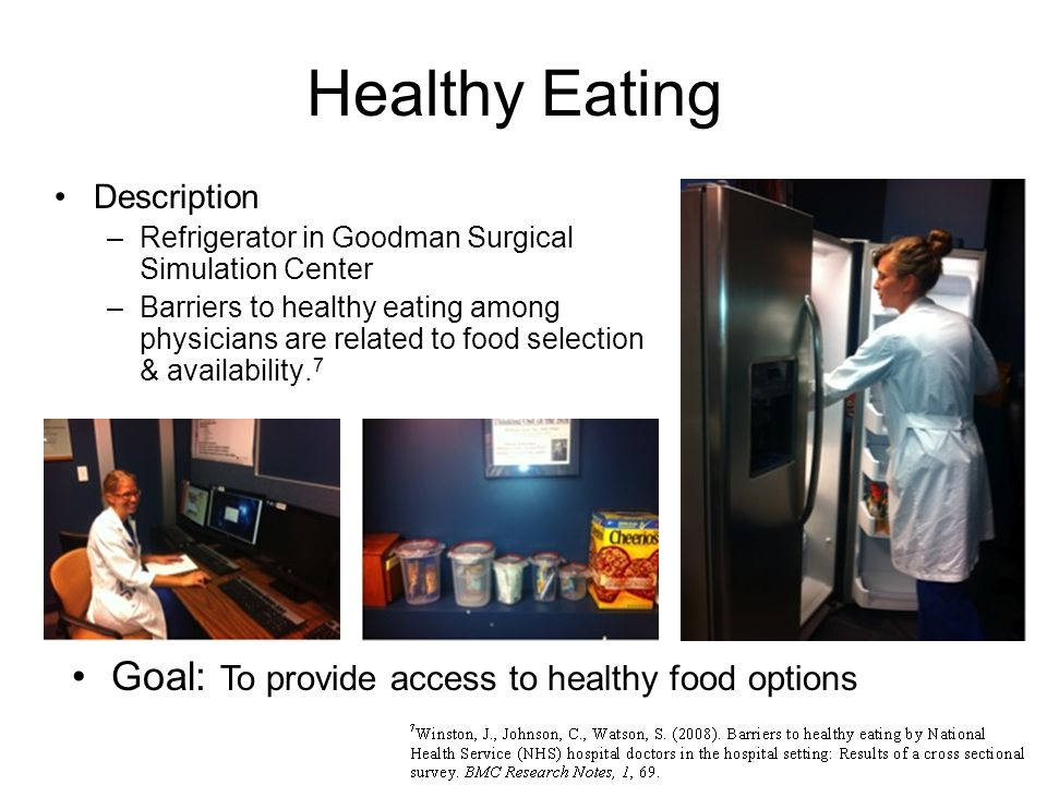 Healthy Eating Description –Refrigerator in Goodman Surgical Simulation Center –Barriers to healthy eating among physicians are related to food selection & availability.