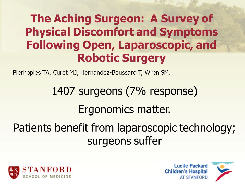 5 The Aching Surgeon: A Survey of Physical Discomfort and Symptoms Following Open, Laparoscopic, and Robotic Surgery Plerhoples TA, Curet MJ, Hernandez-Boussard T, Wren SM.