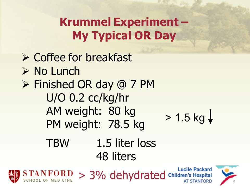 8 Krummel Experiment – My Typical OR Day  Coffee for breakfast  No Lunch  Finished OR day @ 7 PM U/O 0.2 cc/kg/hr AM weight: 80 kg PM weight: 78.5 kg TBW1.5 liter loss 48 liters > 3% dehydrated > 1.5 kg