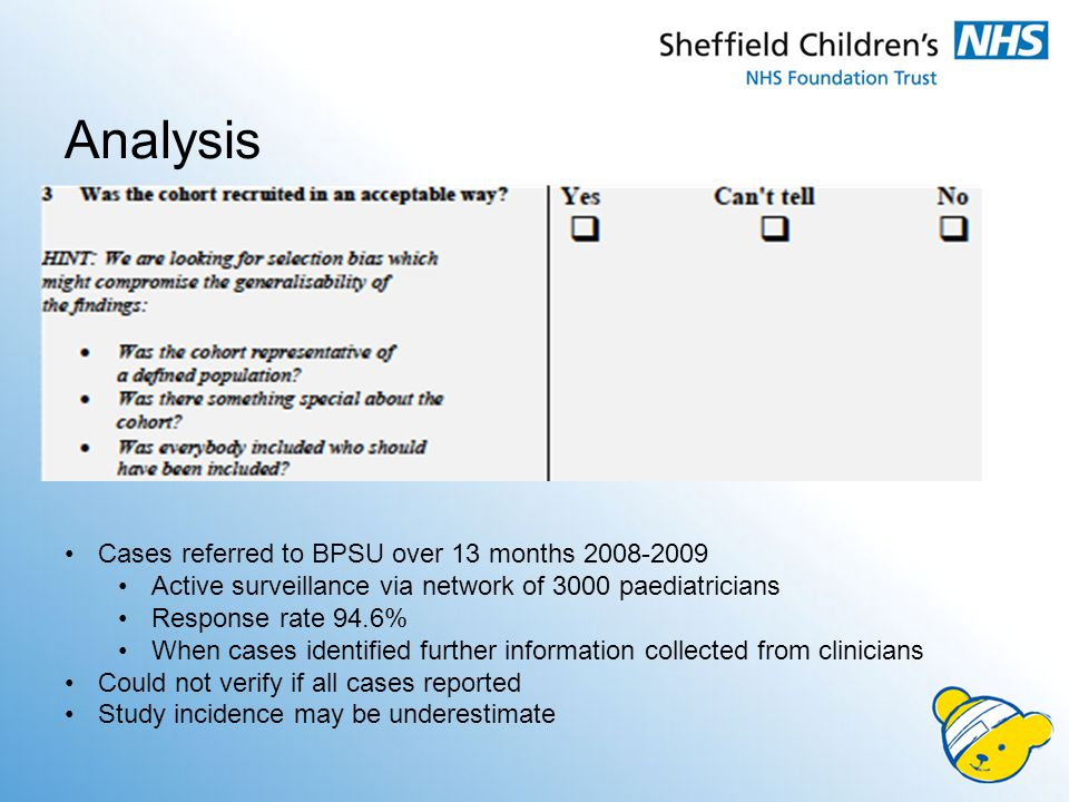 Cases referred to BPSU over 13 months 2008-2009 Active surveillance via network of 3000 paediatricians Response rate 94.6% When cases identified further information collected from clinicians Could not verify if all cases reported Study incidence may be underestimate