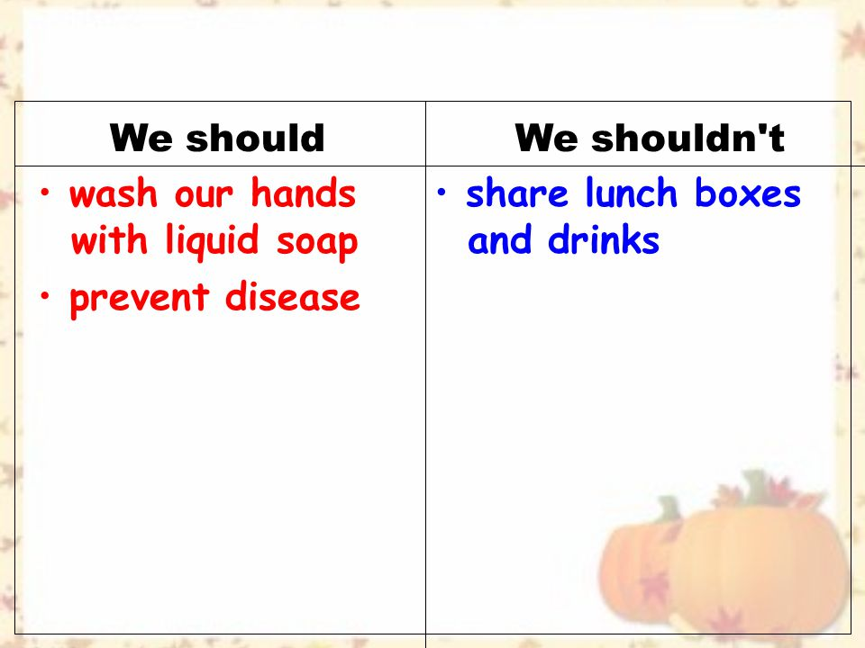 We shouldWe shouldn t prevent disease wash our hands with liquid soap share lunch boxes and drinks