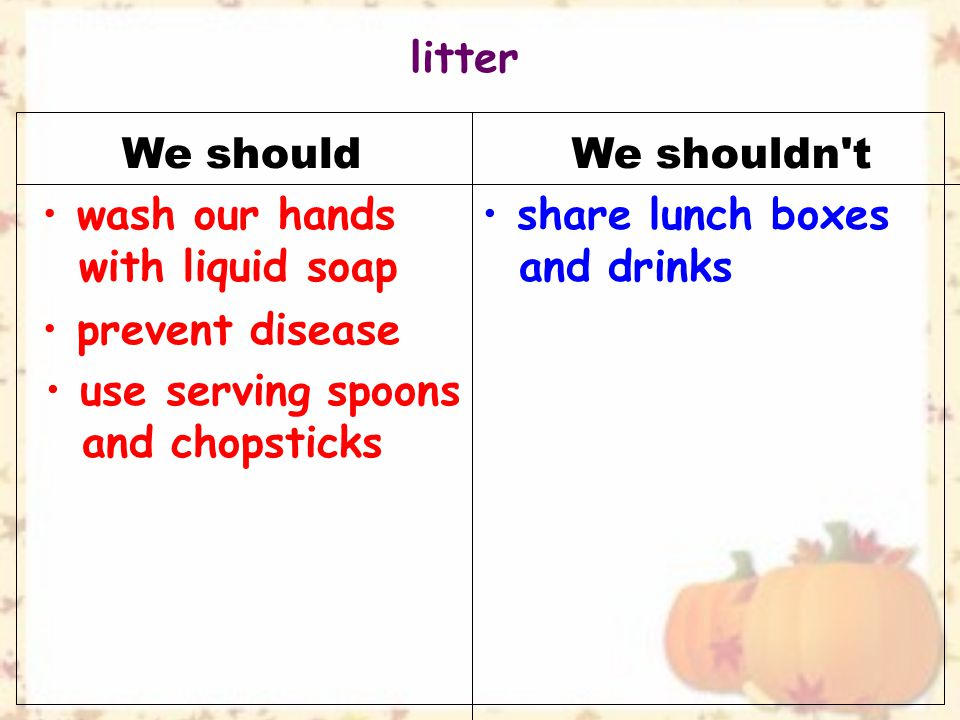 We shouldWe shouldn t use serving spoons and chopsticks wash our hands with liquid soap share lunch boxes and drinks prevent disease