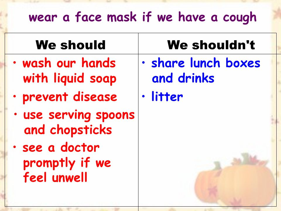 We shouldWe shouldn t see a doctor promptly if we feel unwell wash our hands with liquid soap share lunch boxes and drinks prevent disease use serving spoons and chopsticks litter