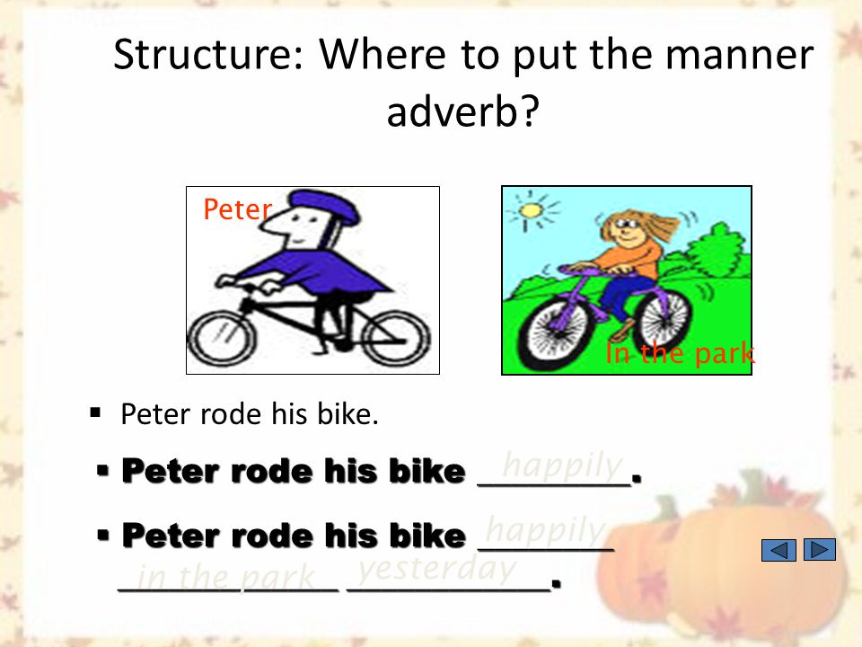 Structure: Where to put the manner adverb. Peter plays baseball.