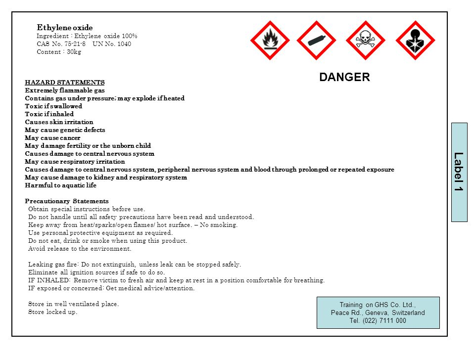 HAZARD STATEMENTS Extremely flammable gas Contains gas under pressure; may explode if heated Toxic if swallowed Toxic if inhaled Causes skin irritation May cause genetic defects May cause cancer May damage fertility or the unborn child Causes damage to central nervous system May cause respiratory irritation Causes damage to central nervous system, peripheral nervous system and blood through prolonged or repeated exposure May cause damage to kidney and respiratory system Harmful to aquatic life Precautionary Statements Obtain special instructions before use.