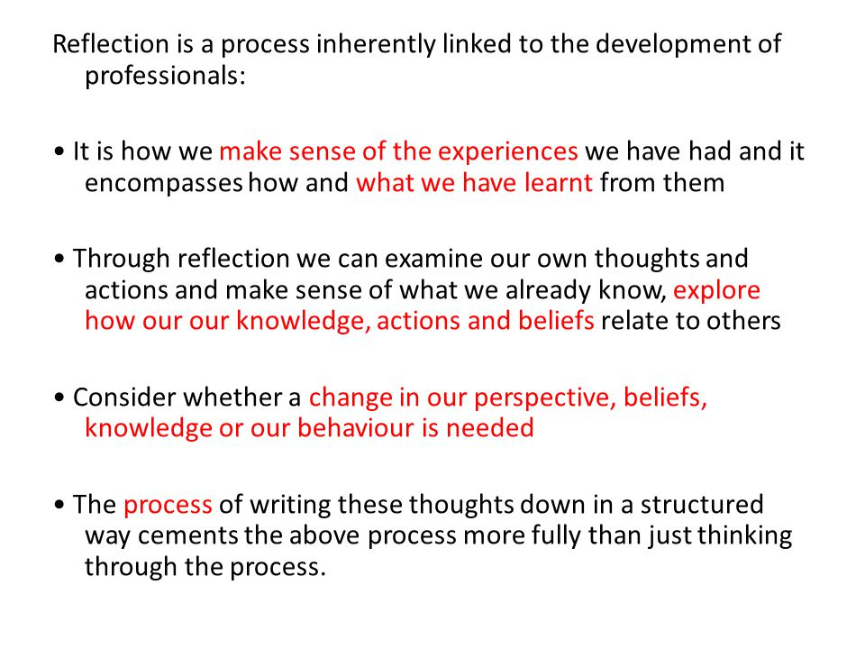 Reflection is a process inherently linked to the development of professionals: It is how we make sense of the experiences we have had and it encompass