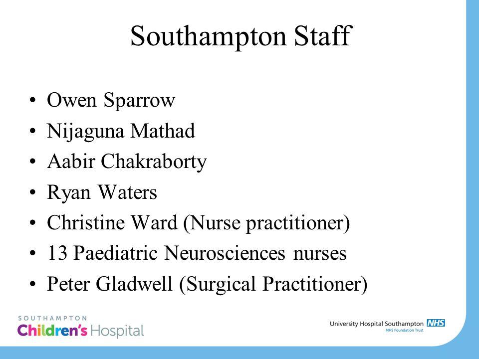 Southampton Staff Owen Sparrow Nijaguna Mathad Aabir Chakraborty Ryan Waters Christine Ward (Nurse practitioner) 13 Paediatric Neurosciences nurses Pe