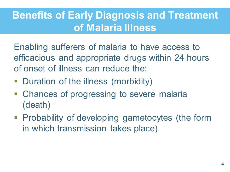 Diagnosis Malaria classification includes:  Taking the patient's brief history  Checking for fever  Checking for anemia (check the eyes and palms)  Checking for other signs of non-malarial illness with fever  Performing a rapid diagnostic test (RDT)  Taking the patient's body weight (to determine the amount of medicine to give)  Recording and documenting, on paper, all you have observed 5