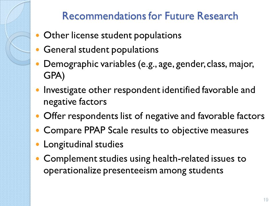Recommendations for Future Research Other license student populations General student populations Demographic variables (e.g., age, gender, class, major, GPA) Investigate other respondent identified favorable and negative factors Offer respondents list of negative and favorable factors Compare PPAP Scale results to objective measures Longitudinal studies Complement studies using health-related issues to operationalize presenteeism among students 19
