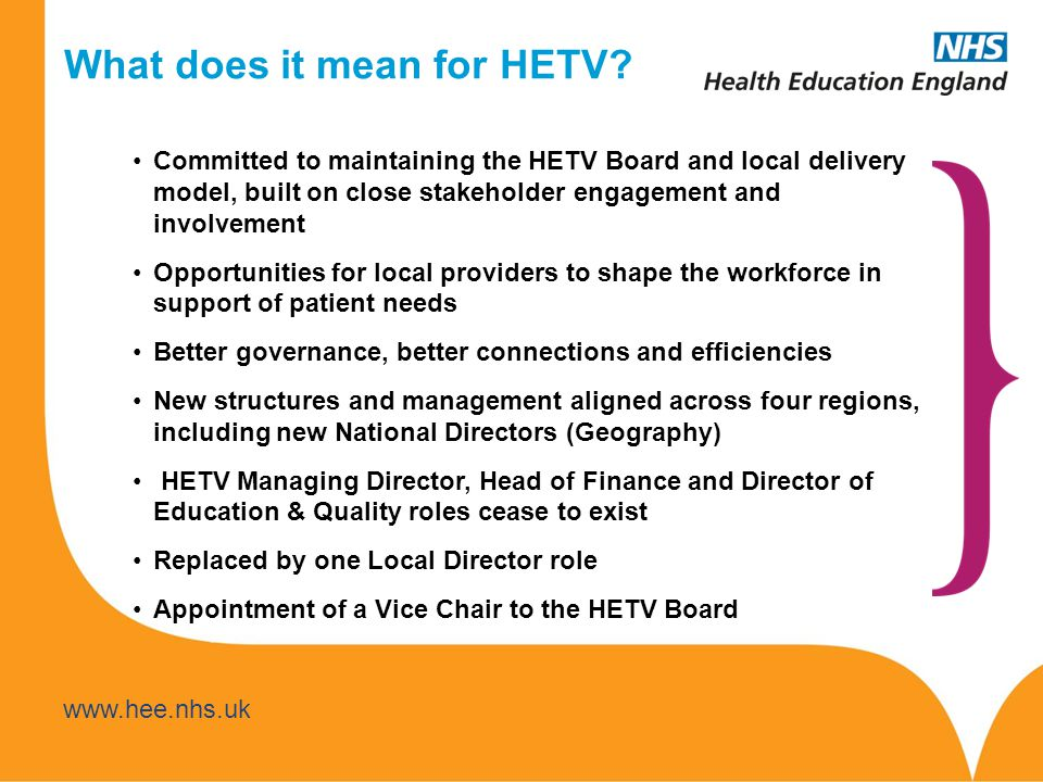 www.hee.nhs.uk www.thamesvalley.hee.nhs.uk Understanding what innovative initiatives are there - identifying the workforce- specific considerations and sharing the good practice Identifying the skills and competencies required to deliver these new services effectively Identifying new roles, laying foundations for better succession planning and career development to attract, recruit and retain staff to the community setting HETV to work closely local partners to ensure that education commissioning responds to local priorities to meet the shift Building new partnerships – with social care, with Public Health, with private/voluntary/independent sectors What else does HETV need to be doing to support and develop.