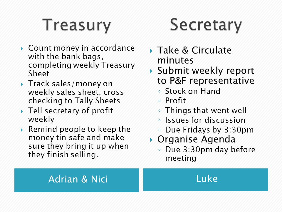 Adrian & Nici Luke  Count money in accordance with the bank bags, completing weekly Treasury Sheet  Track sales/money on weekly sales sheet, cross c