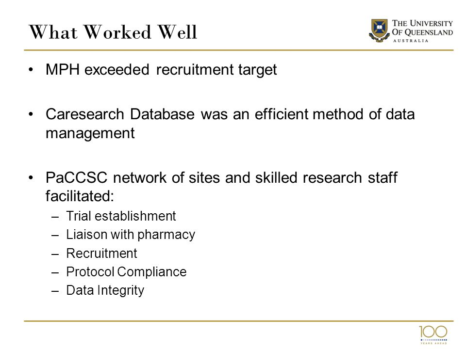 What Worked Well MPH exceeded recruitment target Caresearch Database was an efficient method of data management PaCCSC network of sites and skilled research staff facilitated: –Trial establishment –Liaison with pharmacy –Recruitment –Protocol Compliance –Data Integrity