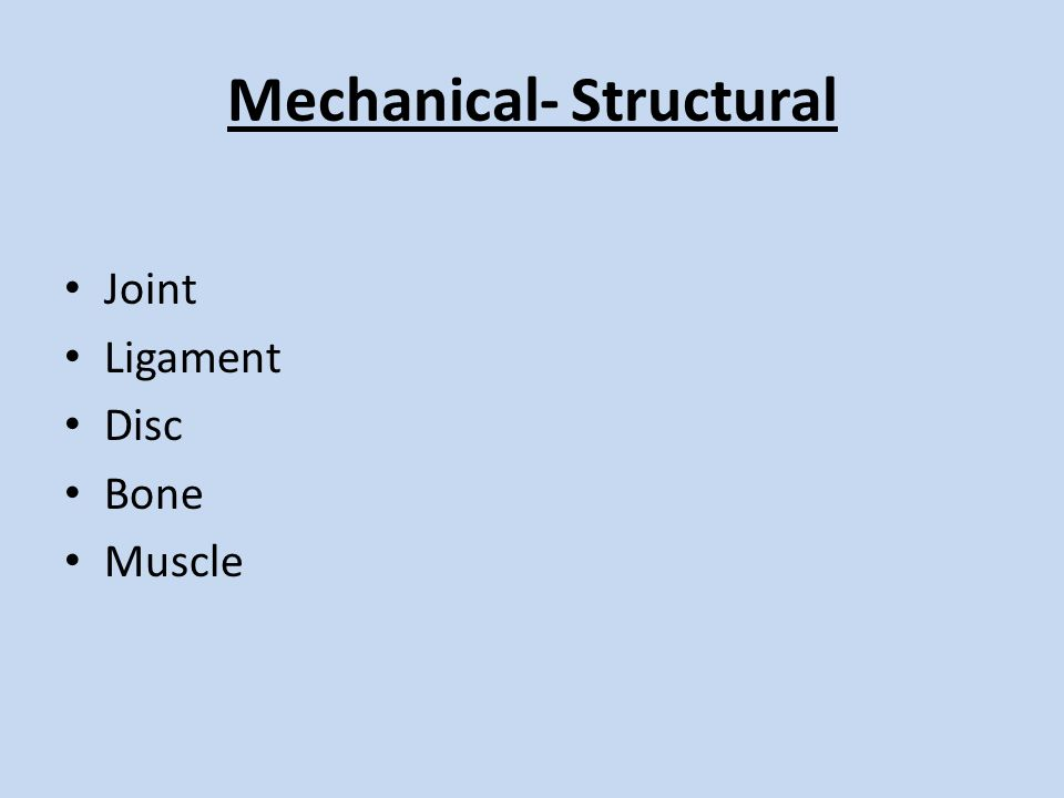 Mechanical- Structural Joint Ligament Disc Bone Muscle