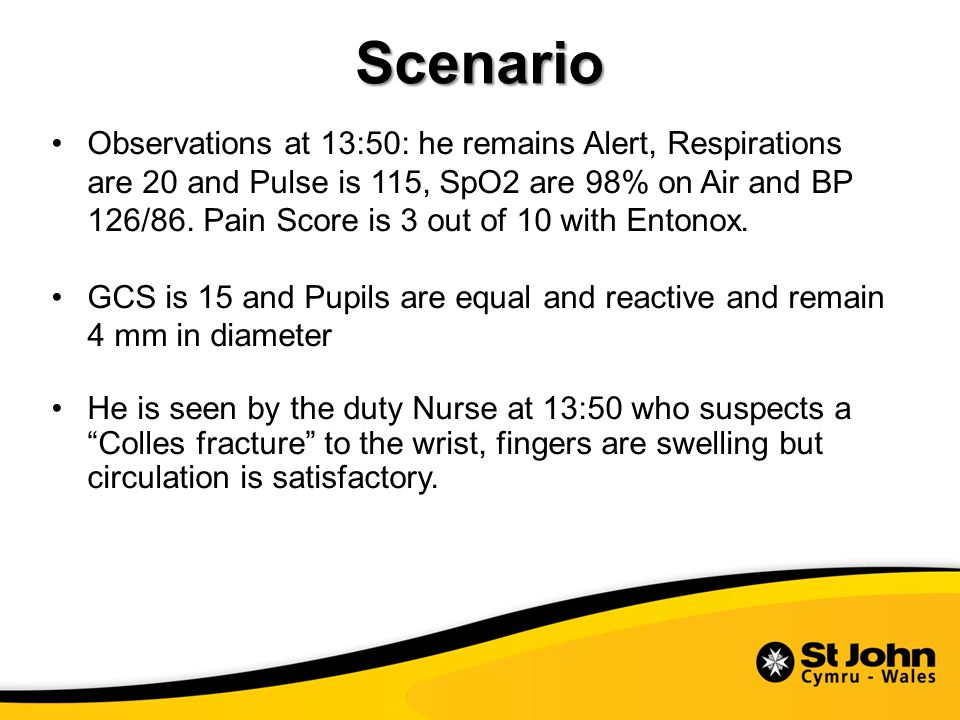 Scenario Observations at 13:50: he remains Alert, Respirations are 20 and Pulse is 115, SpO2 are 98% on Air and BP 126/86.