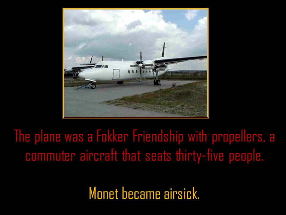 The plane was a Fokker Friendship with propellers, a commuter aircraft that seats thirty-five people.