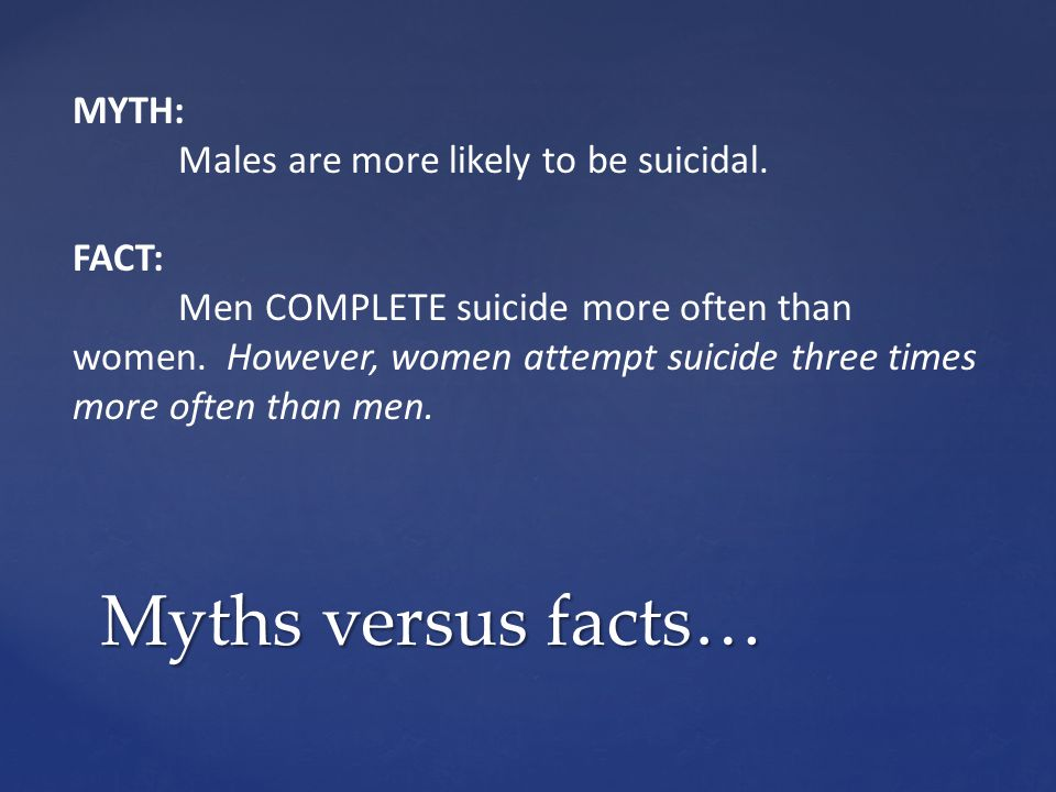 Myths versus facts… MYTH: Males are more likely to be suicidal. FACT: Men COMPLETE suicide more often than women. However, women attempt suicide three