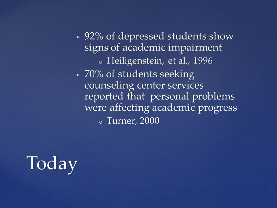92% of depressed students show signs of academic impairment 92% of depressed students show signs of academic impairment o Heiligenstein, et al., 1996