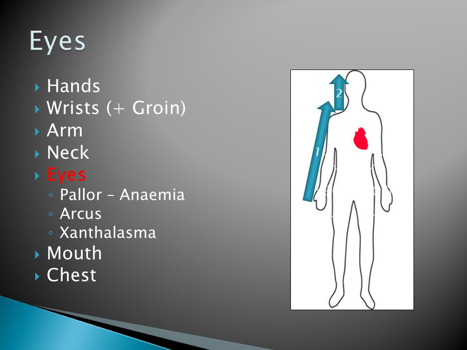 Hands  Wrists (+ Groin)  Arm  Neck  Eyes ◦ Pallor – Anaemia ◦ Arcus ◦ Xanthalasma  Mouth  Chest 1 2