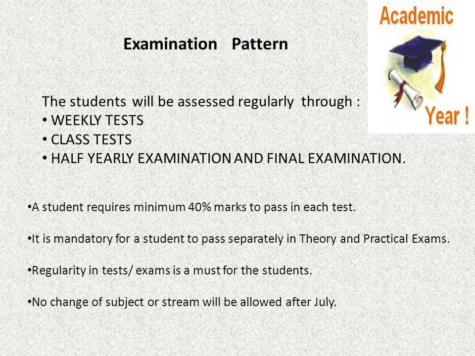 Examination Pattern The students will be assessed regularly through : WEEKLY TESTS CLASS TESTS HALF YEARLY EXAMINATION AND FINAL EXAMINATION. A studen
