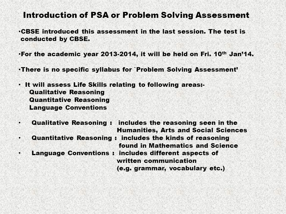 Introduction of PSA or Problem Solving Assessment CBSE introduced this assessment in the last session. The test is conducted by CBSE. For the academic