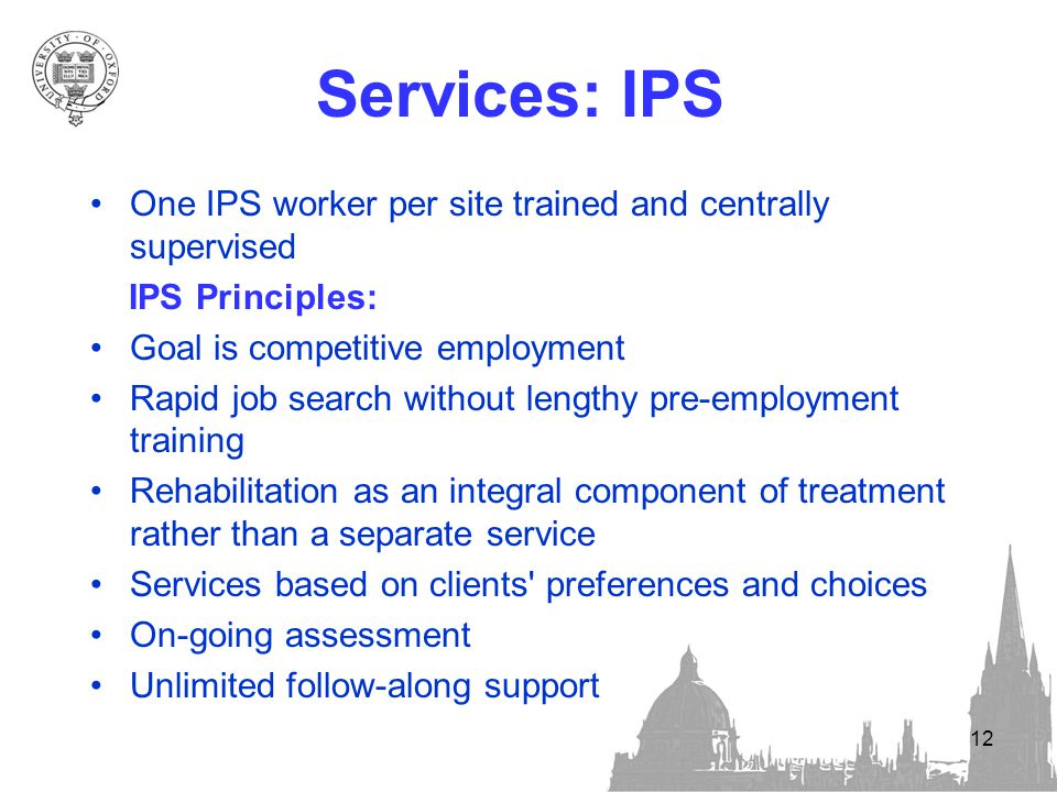 12 Services: IPS One IPS worker per site trained and centrally supervised IPS Principles: Goal is competitive employment Rapid job search without lengthy pre-employment training Rehabilitation as an integral component of treatment rather than a separate service Services based on clients preferences and choices On-going assessment Unlimited follow-along support