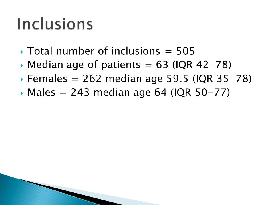  Total number of inclusions = 505  Median age of patients = 63 (IQR 42-78)  Females = 262 median age 59.5 (IQR 35-78)  Males = 243 median age 64 (