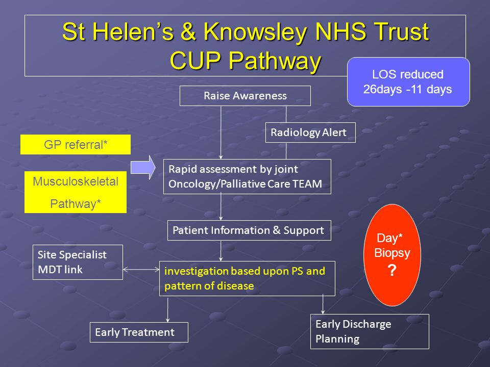 St Helen's & Knowsley NHS Trust CUP Pathway Raise Awareness Radiology Alert Rapid assessment by joint Oncology/Palliative Care TEAM Patient Informatio