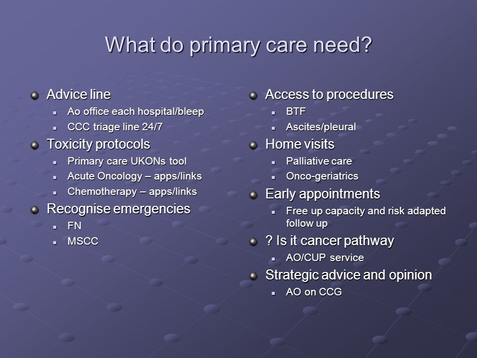 What do primary care need? Advice line Ao office each hospital/bleep Ao office each hospital/bleep CCC triage line 24/7 CCC triage line 24/7 Toxicity