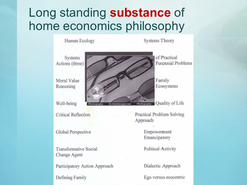 Long standing substance of home economics philosophy