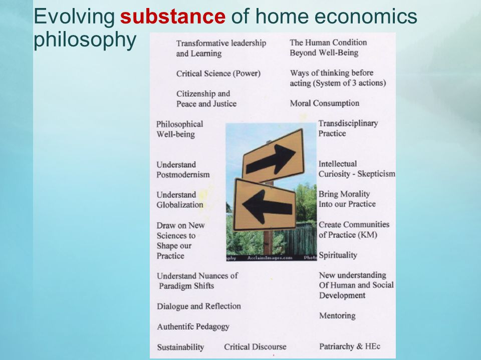 Evolving substance of home economics philosophy