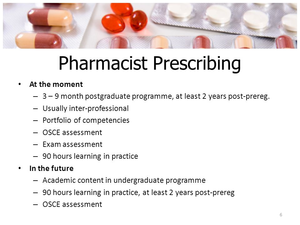 Aims of non-medical prescribing To make more effective use of the skills and expertise of groups of professions To improve patients' access to treatment and advice To improve patient choice and convenience To contribute to more flexible team working across the NHS 7