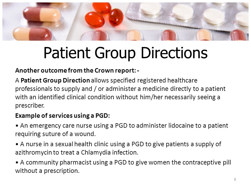 Patient Group Directions See handout and use it to answer the following questions 1.