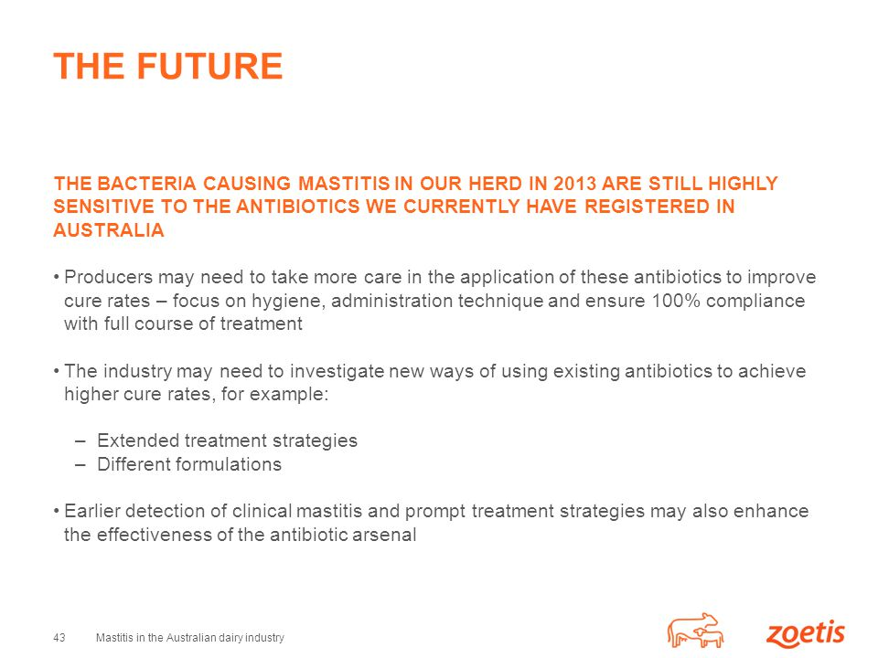 43Mastitis in the Australian dairy industry THE FUTURE THE BACTERIA CAUSING MASTITIS IN OUR HERD IN 2013 ARE STILL HIGHLY SENSITIVE TO THE ANTIBIOTICS WE CURRENTLY HAVE REGISTERED IN AUSTRALIA Producers may need to take more care in the application of these antibiotics to improve cure rates – focus on hygiene, administration technique and ensure 100% compliance with full course of treatment The industry may need to investigate new ways of using existing antibiotics to achieve higher cure rates, for example: –Extended treatment strategies –Different formulations Earlier detection of clinical mastitis and prompt treatment strategies may also enhance the effectiveness of the antibiotic arsenal