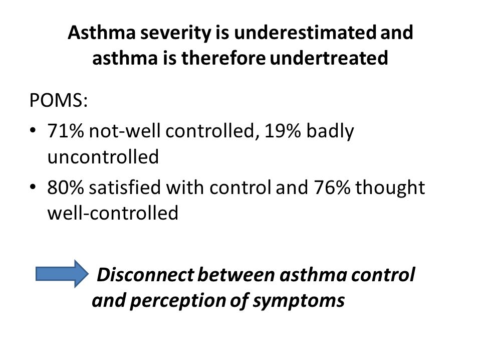 Asthma severity is underestimated and asthma is therefore undertreated POMS: 71% not-well controlled, 19% badly uncontrolled 80% satisfied with control and 76% thought well-controlled Disconnect between asthma control and perception of symptoms