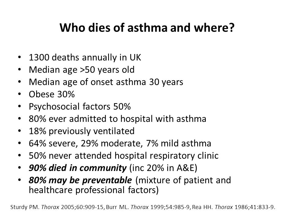Who dies of asthma and where.