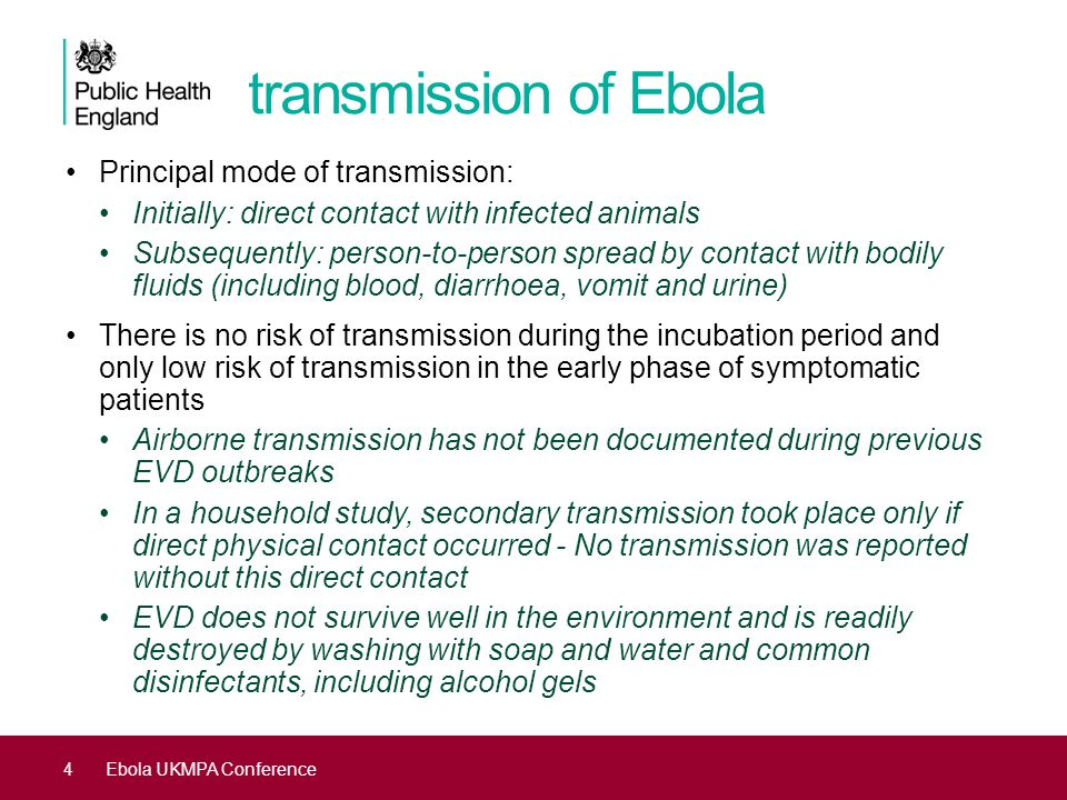 transmission of Ebola Principal mode of transmission: Initially: direct contact with infected animals Subsequently: person-to-person spread by contact