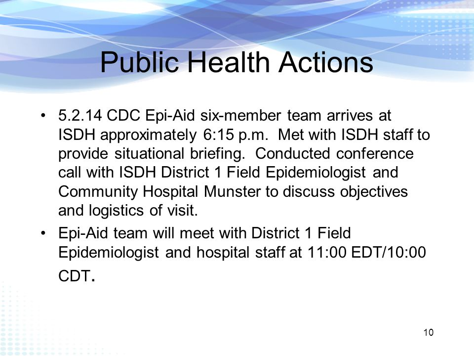 Public Health Actions 5.2.14 CDC Epi-Aid six-member team arrives at ISDH approximately 6:15 p.m.