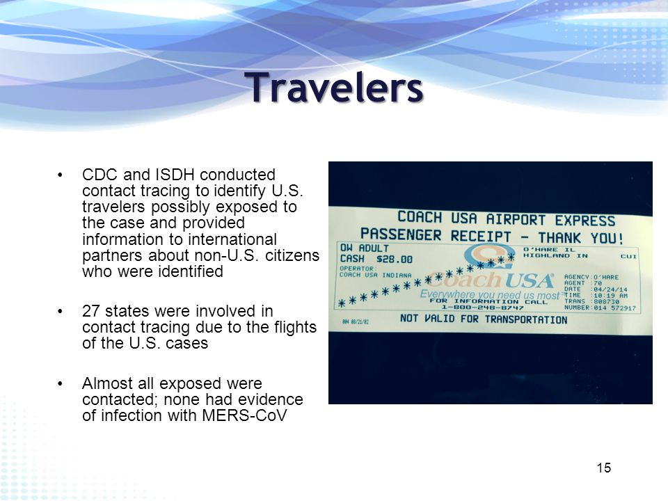 Travelers CDC and ISDH conducted contact tracing to identify U.S.