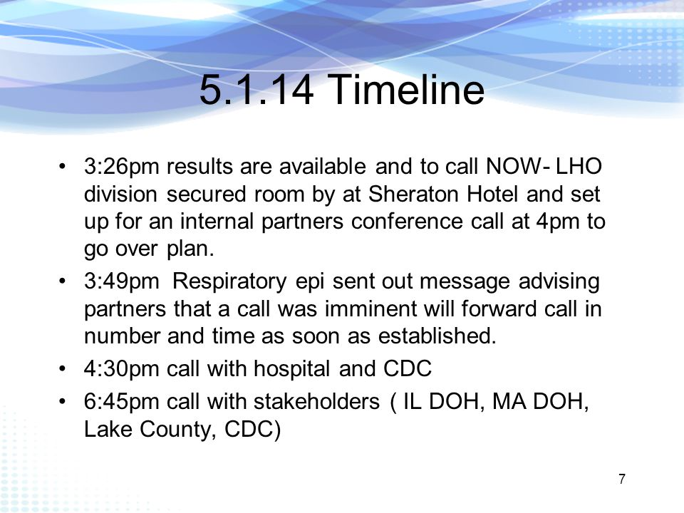 5.1.14 Timeline 3:26pm results are available and to call NOW- LHO division secured room by at Sheraton Hotel and set up for an internal partners conference call at 4pm to go over plan.