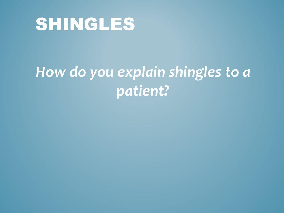 How do you explain shingles to a patient? SHINGLES