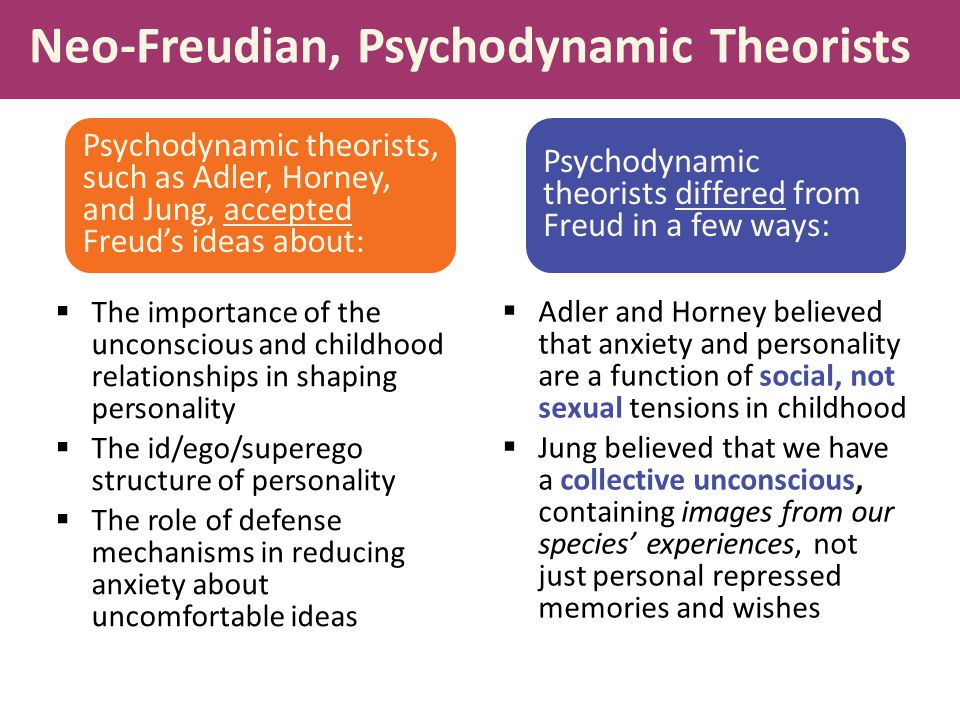 Neo-Freudian, Psychodynamic Theorists  The importance of the unconscious and childhood relationships in shaping personality  The id/ego/superego str