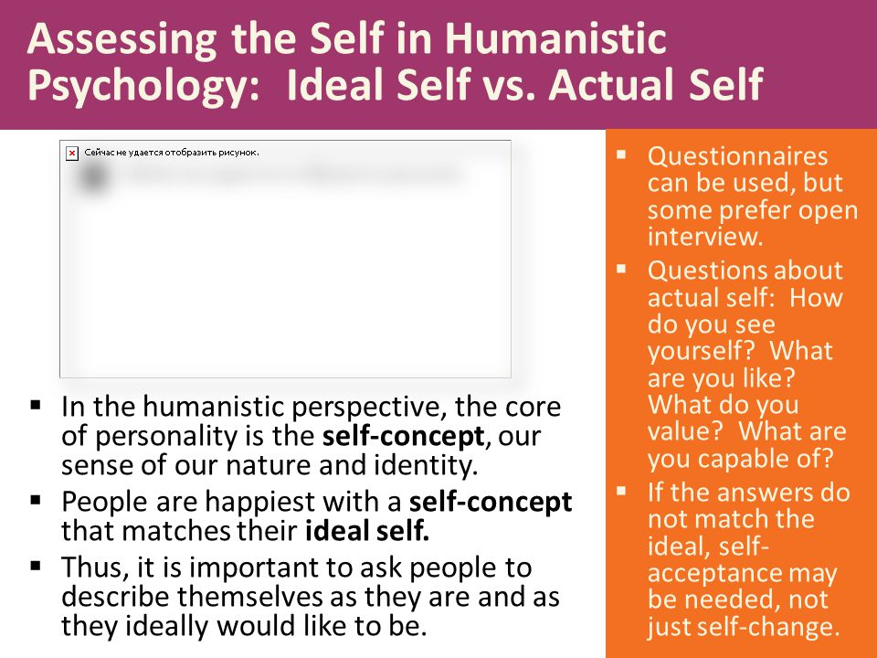  In the humanistic perspective, the core of personality is the self-concept, our sense of our nature and identity.  People are happiest with a self-