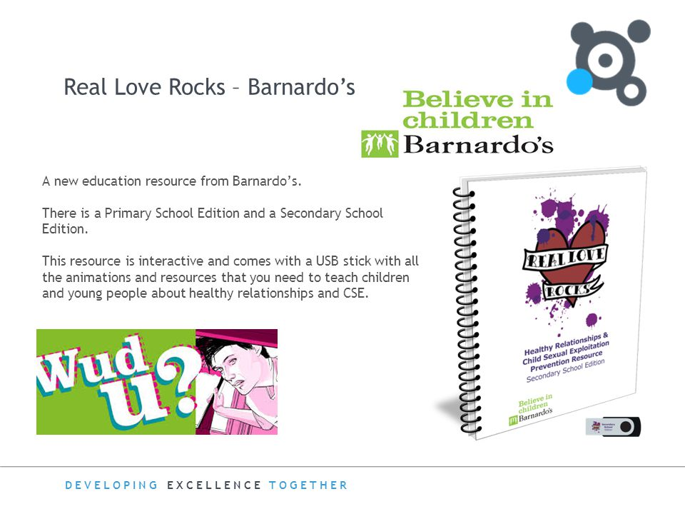 DEVELOPING EXCELLENCE TOGETHER Real Love Rocks – Barnardo's AA A new education resource from Barnardo's. There is a Primary School Edition and a Secon