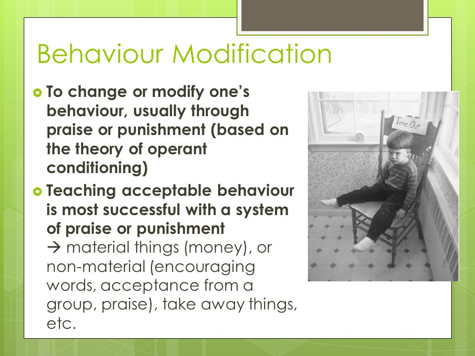 Behaviour Modification  To change or modify one's behaviour, usually through praise or punishment (based on the theory of operant conditioning)  Tea