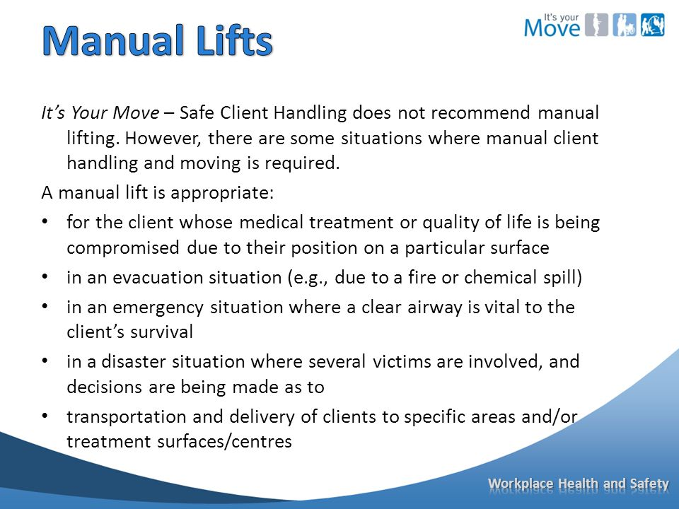 It's Your Move – Safe Client Handling does not recommend manual lifting.