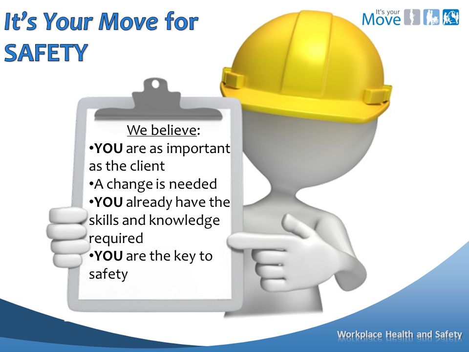 We believe: YOU are as important as the client A change is needed YOU already have the skills and knowledge required YOU are the key to safety
