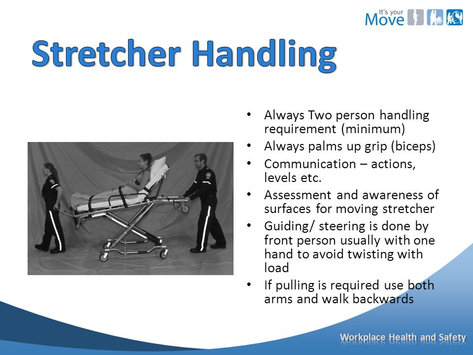Always Two person handling requirement (minimum) Always palms up grip (biceps) Communication – actions, levels etc.